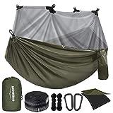 Overmont Hamaca Camping Viaje Dobles Capas Máx 400kg Capacidad de Carga (280x185cm) Nylon Paracaídas Hamaca Interior Exterior Patio Beach Senderismo (Negro y Verde Militar)