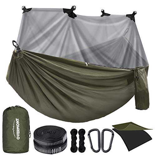 Overmont Camping Hammock with Mosquito Net Double Layer Hammock Large Portable Hammock with Bug Net for Outdoor Hiking Travel Sports with Tree Straps Max Load of 400 KG (Green, 280x185cm)