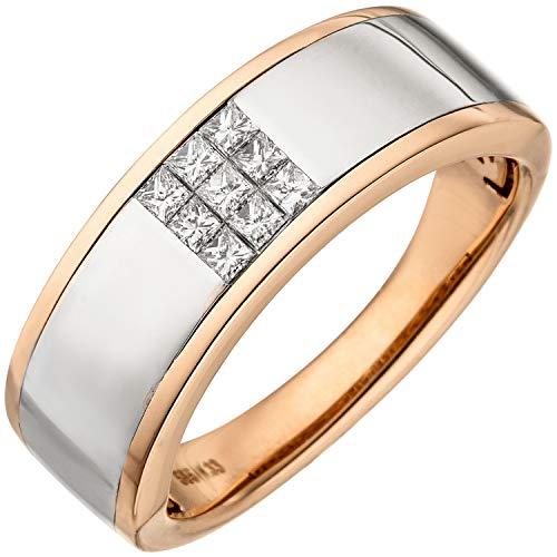 JOBO Damen-Ring aus 585 Rosegold Bicolor mit 9 Diamanten im Princess-Schliff Größe 58