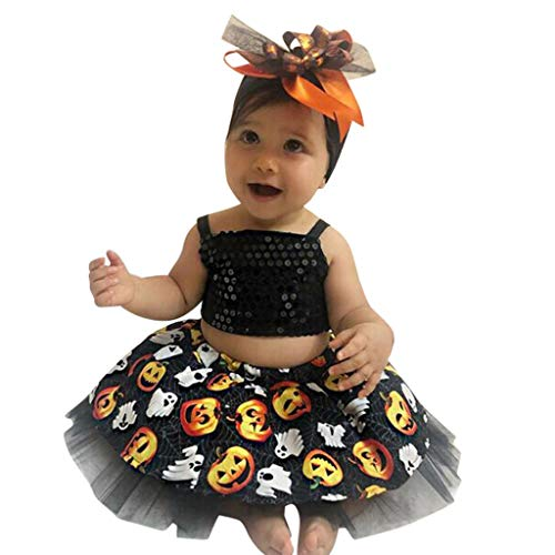 Julhold infant kind baby meisjes mode elegante halloween tops + pompoenprint slank tutu jurk outfits set 0-3 jaar