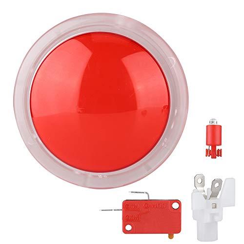 Lazmin112 Botones pulsadores de Arcade, botón de lámpara de luz LED de 100 mm Botones pulsadores de Videojuegos de Arcade Grandes y Redondos Interruptor de botón pulsador de Reproductor(Rojo)