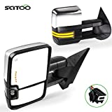 SCITOO Towing Mirrors Tow Mirrors Chrome Truck Mirrors fit for 2008-2013 for Chevy Silverado for GMC Sierra All Models with Pair LH RH Power Adjusted Heated LED Turn Signal Running Light