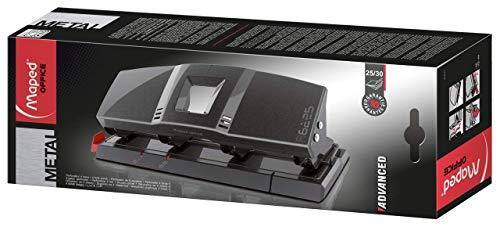 MAPED OFFICE - Perforateur 4 Trous Advanced en Métal - Perforatrice A4 pour 25 à 30 Feuilles - Avec Système de Calage Optimisé, Réserve à Confettis et Patins Anti-Dérapants