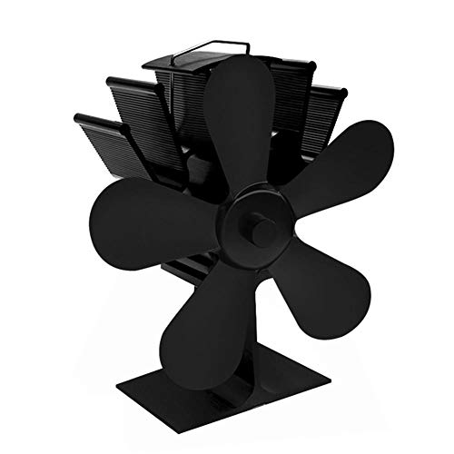 CAOYI 4 Blade Heat Powered Wood Stove Eco Fan Fireplace Wood Burning Fan for Efficient Heat Distribution – Black
