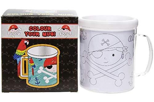 8200 Piraten Kindertasse zum selbst bemalen, inkl. 6 Buntstifte und 3 Malvorlagen, Piraten-Motiv, Becher Kids, Tasse selbst gestalten, Kinderbecher, Malspass