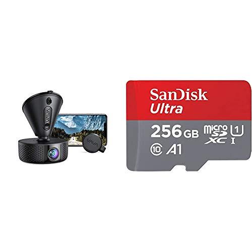 Dash Cam, VAVA 4K 3840X2140@30Fps Wi-Fi Car Dash Camera & SanDisk 256GB Ultra microSDXC UHS-I Memory Card with Adapter - 100MB/s, C10, U1, Full HD, A1, Micro SD Card - SDSQUAR-256G-GN6MA