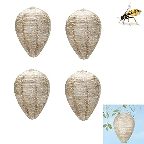 Wespe Nest Locky Outdoor Hanging Waterproof Natural Fake Wespe Nest Sichere Fälschungsfalle Nichttoxisches Papierbiene abschreckend für Haus und Garten im Freien ( Color : Light color , Size : 4pack )