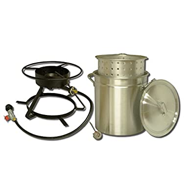 King Kooker 5012 Portable Propane Outdoor Boiling Steaming Cooker Package 50-Quart Aluminum Pot Steaming Basket