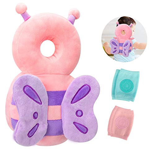 Toddler Baby Head Protection & Baby Knee Pads for Crawling and Walking, Babies Head Safety Pad Cushion Adjustable Backpack Suitable for 4-24 Months (Butterfly & Pink & Blue)