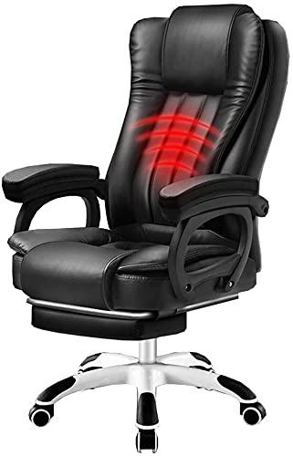 EPYFFJH Regolatore esecutivo ad Altezza Regolabile PU. Casa Poltrona per Computer 145 ° Sedia Boss reclinabile con poggiapiedi Massaggio La Schiena Base Nylon Cuscinetto PARSO 150KG (Colore: Khaki)
