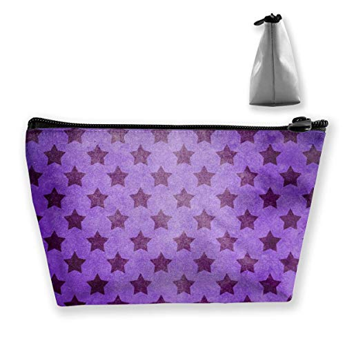 Stars Pattern Purple Women Cosmetic Bags Multi Function Toiletry Organizer Bags,Hand Portable Pouch Travel Wash Storage Capacity with Zipper(Trapezoidal)