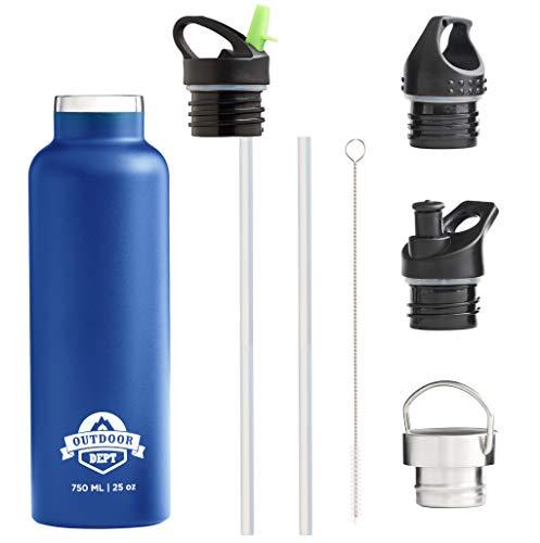 Isolierte Edelstahl Trinkflasche 750 ML 4 Deckel BPA frei Kohlensäure geeignet