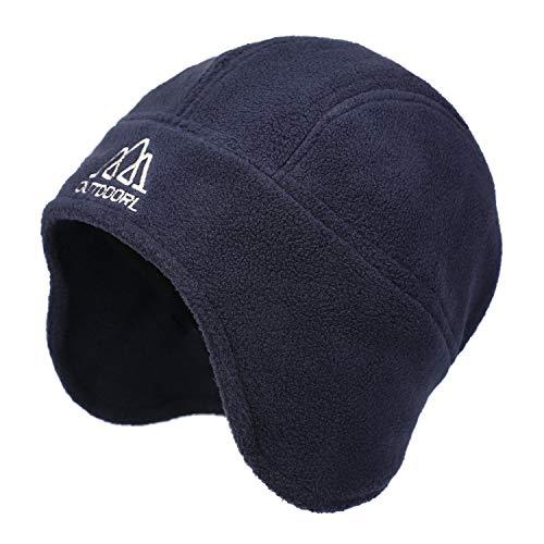 Flammi Men's Warm Fleece Earflap Hat Winter Skull Cap Beanie with Ear Covers (Dark Blue)