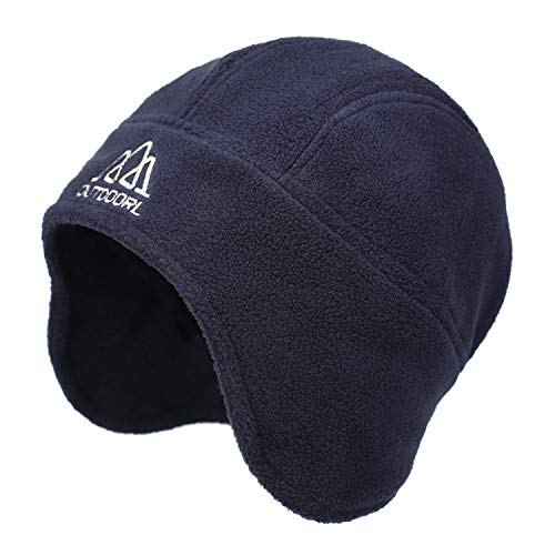 Flammi Men's Warm Fleece Earflap Hat Winter Skull Cap Beanie with Ear Covers (Dark Blue)