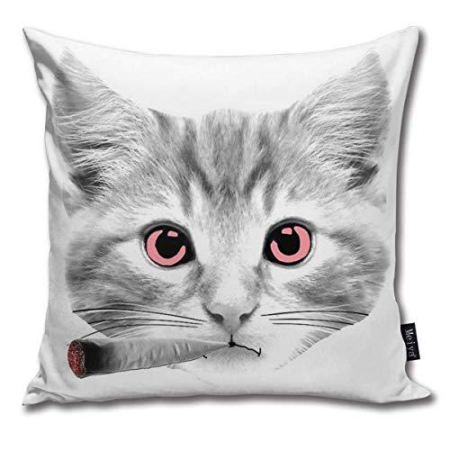 ewretery Dekokissenbezug mit rauchender Katze, 420 Katze, rauchend, dekorativ, quadratisch, 45,7 x 45,7 cm