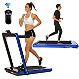 2 in 1 Under Desk Portable Electric Folding Treadmill Walking Pad with Wireless Remote Control and Audio Speakers, Fitness Walking Jogging Running Machine Cardio Workout for Home Office (Dark Blue)