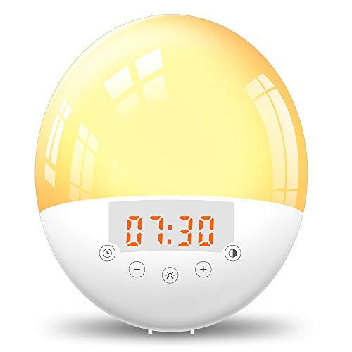 Lixada Wecker Wake up Licht led Lichtwecker Radio Wecker Reisewecker Nachtlicht mit Bluetooth-Verbindung, 30 Dimmstufen 8Wecktöne und 6Farben für Kinder