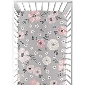 Sweet Jojo Designs Grey Watercolor Floral Girl Fitted Crib Sheet Baby or Toddler Bed Nursery – Blush Pink Gray and White Shabby Chic Rose Flower Farmhouse