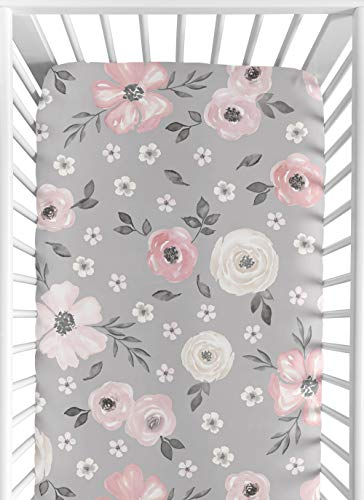 Sweet Jojo Designs Grey Watercolor Floral Girl Fitted Crib Sheet Baby or Toddler Bed Nursery - Blush Pink Gray and White Shabby Chic Rose Flower Farmhouse
