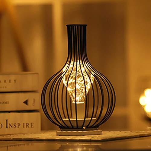 FADDR Schwarz Metalldraht Tischlampe, Moderne Eisen Korb Käfig Stil Nachtlicht, Retro Nachttischlampe Standlicht Batterie betrieben für Schlafzimmer