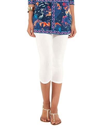 Go Colors Women's White Lycra Cropped 7/8 th Leggings (Medium)