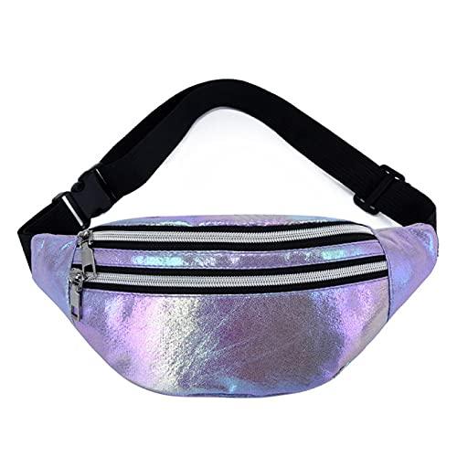 Bolsa de cinturón para mujer con holograma rosa, bolsa de cintura láser Pu Beach Traverl Banana Hip Bum Zip Chalecos para mujeres, Purple (Morado) - 6998542360710