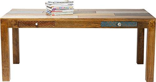 Kare Tisch Soleil 180 x 90 cm, großer Esstisch aus echtem Mango Massivholz, Esszimmertisch mit handverzierten Ornamenten und 2 Schubladen, (H/B/T) 77 x 180 x90 cm