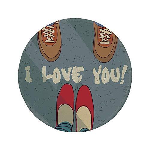 Rutschfreies Gummi-rundes Mauspad ich liebe dich Mann Frau Füße Paare Zusammengehörigkeit Liebe Leben Romantik Flirt Glück Grafik Grafik Dekorativ Mehrfarbig 7.9