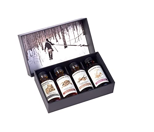 Runamok Maple Syrup Gift Box   Vermonter's Gift Box   Special Present For Holidays   Whiskey Barrel-Aged, Cinnamon+Vanilla, Cardamom & Elderberry   4 Samplers of Real Maple Syrup   2 Fl Oz (60mL)