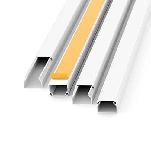 Kabelkanal Selbstklebend Weiss 1m (10 Stk. - 15x10 mm klein) - 10m Kabelkanäle mit Schaumklebeband fertig für Montage an der Wand - 15x10mm