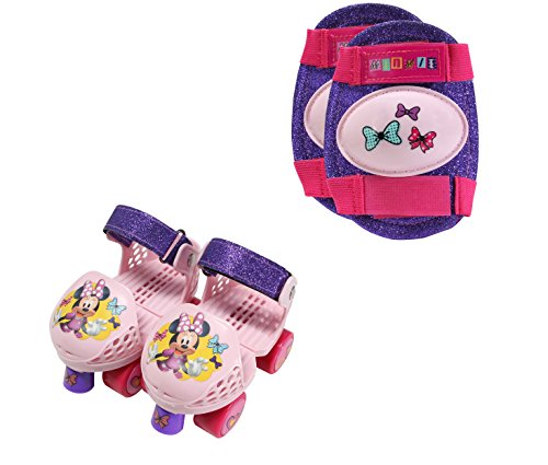 PlayWheels Minnie Mouse Kids Glitter Rollerskate Junior Size 6-12 with Knee Pads, 166441