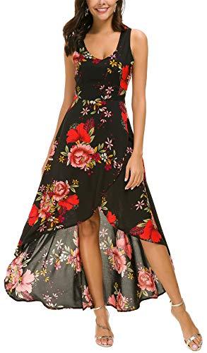 Kormei Womens Sleeveless Scoop Neck Floral High Low Split Party Long Maxi Dress L