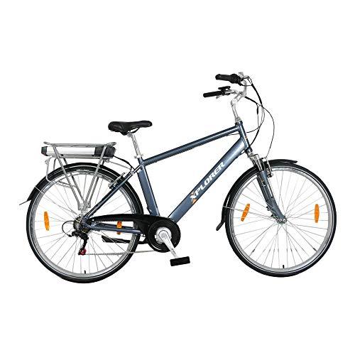 Silver Line, 28 Pulgadas, Bicicleta Eléctrica para Adultos, E-Bike con Motor 250W BAFANG, Batteria 36V 13AH, con Freno a V TEKTRO, Palanca de Cambios Shimano Tourney 6 Speed