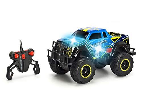 Dickie Toys 201119125 RC Iluminator, ferngesteuertes Fahrzeug mit Licht-& Soundeffekten, RTR, 1:16, 33 cm, 10 km/h, blau/gelb