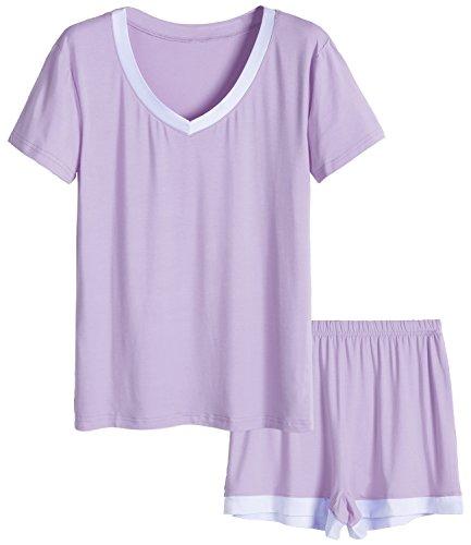 Latuza Women's V-Neck Sleepwear Short Sleeve Pajama Set M Purple