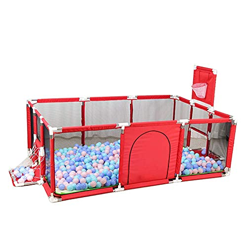 SHWYSHOP Gran Portátil Baby Ball Pit Carpa Corralito Cerca de Corral con aro de Baloncesto Malla Transpirable para Interiores al Aire Libre Infantil (Plegable)