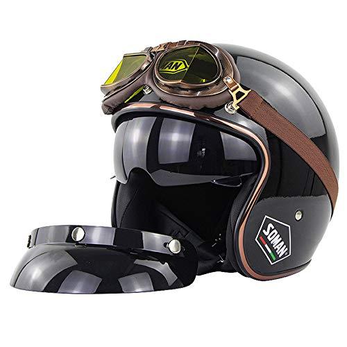 EIEI Retro 3/4 Motorradhelm Jethelm mit Brille Elektro-Fahrrad-Roller Halbschalenhelm für Mann und Frau,Bright Black,L(58~59) cm