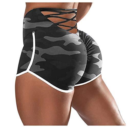 Pantalones Cortos Leggings Mujer Mallas Alta Cintura Elásticos, Leggings Push Up Mujer Cortos,Shorts de Yoga de Algodón Suave para Mujer Leggins Cortos Deportes de Color Sólido Fitness Correr