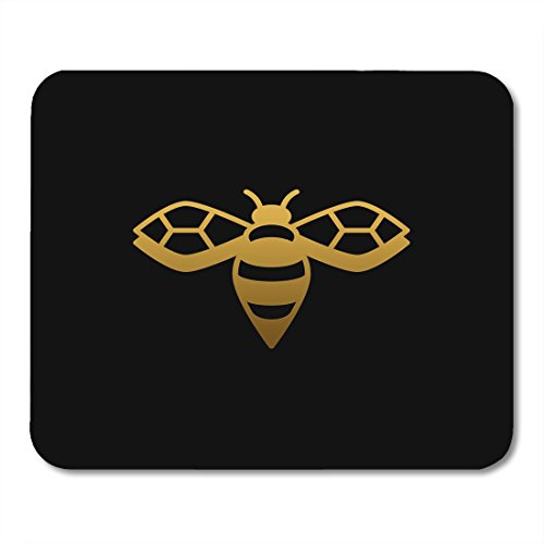 Boszina Mouse pad Hexagon Golden Gold Bee on Black Symbol Queen Abstract Office Supplies mouses pad 9.5x7.9 Inches Mousepad