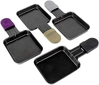 Coupelle Raclette Poêlon Raclette Grill Accessoires Revêtement Antiadhésif, 18x8x0,5cm, 4 Plats