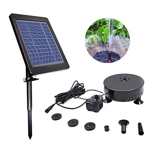 Baiwka Bomba de Agua Solar con batería de Respaldo e iluminación LED, Bomba de Agua sin escobillas de 6V 3.5W Mejorada.Bomba de Agua Solar para Patio,Estanque, Piscina, Tanque de Peces,baño de Aves