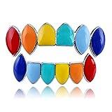 Hip-Hop-Rap vergoldet (Colourful Rainbow) Eckzahngrill Ober- und Unterzahn Mundschutz, Verwendet für Weihnachten, Party, Tanz, Cosplay Kostümzubehör, Geeignet für Männer und Frauen ( Color : Silver )