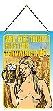 Blechschild Con cordón de 30 x 20 cm, decoración con texto en alemán 'Wer Bier trinkt, hilft der agricultura'