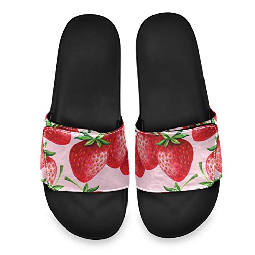 PUXUQU Rot Erdbeere Muster Herren/DamenBadeschuheHausschuheSlippersVerstellbaren,SommerSlidePantolettenBadelatschenStrandSandalenrutschfestBadenBadelatschen