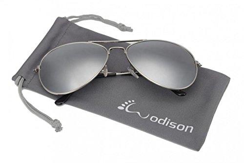 WODISON Weinlese-Flieger-Sonnenbrille-reflektierende Spiegel-Objektiv Nachtsichtbrille mit Metall Rahmen Autofahren Polarisiert für Pilotenbrille Schutz Entspiegelten