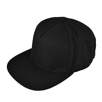 DALIX Premium 5 Panel Wool Blend Hat Flat Bill Cap Snapback (Black)