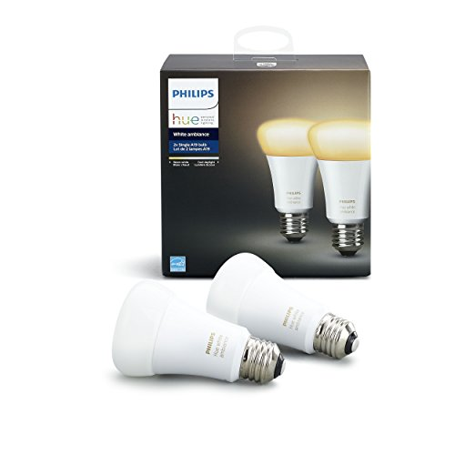 Philips Hue White Ambiance A19 2-Pack 60W Equivalent Dimmable LED Smart Bulbs (Hue Hub Required,...