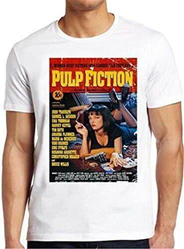 Pulp Fiction Movie Poster ntino 90s Cult Film tee T Shirt 4261 XL White