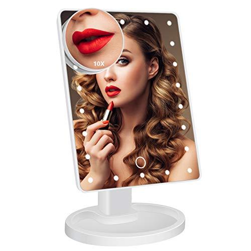 Kosmetikspiegel,Schminkspiegel mit 22 LED Licht Blendfreier Bleuchtung 180 Grad Einstellbar mit Vergrößerung Tischspiegel Touchschalter für Dimmbare Helligkeit Schminken Rasieren, Makeup
