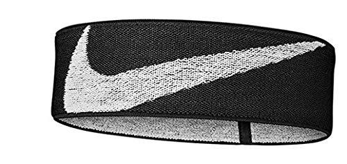 NIKE Logo Knit Cinta del Pelo, Unisex Adulto, Negro/Blanco, Talla única